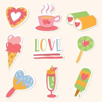 Feliz dia dos namorados pacote de adesivos de amor