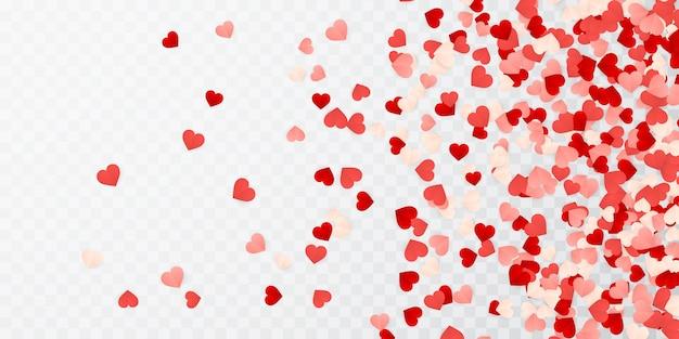 Feliz dia dos namorados papel confete de corações vermelho, rosa e branco.