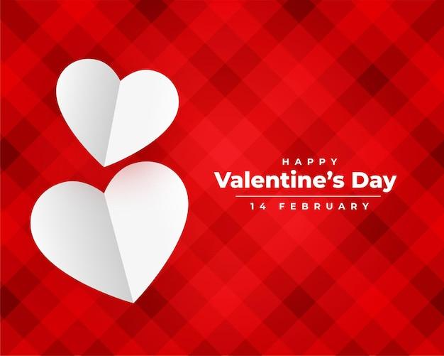 Feliz dia dos namorados papel corações deseja design de cartão