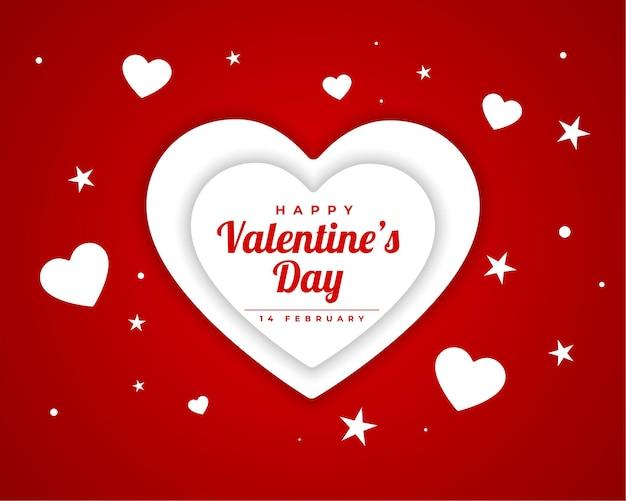 Feliz dia dos namorados papel cortado design de cartão de corações