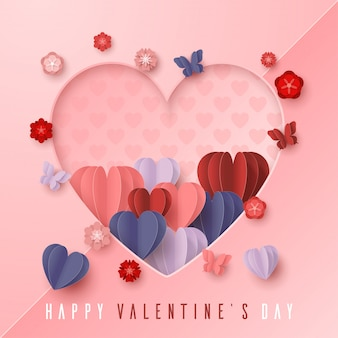 Feliz dia dos namorados papel cortado estilo com forma de coração colorido em fundo rosa