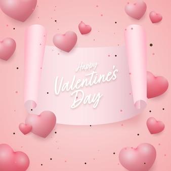 Feliz dia dos namorados papel pergaminho com brilhantes corações decorados em fundo rosa.