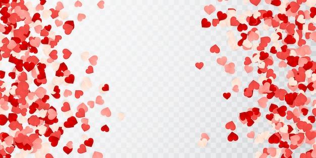 Feliz dia dos namorados papel vermelho, rosa e branco confetes corações laranja.
