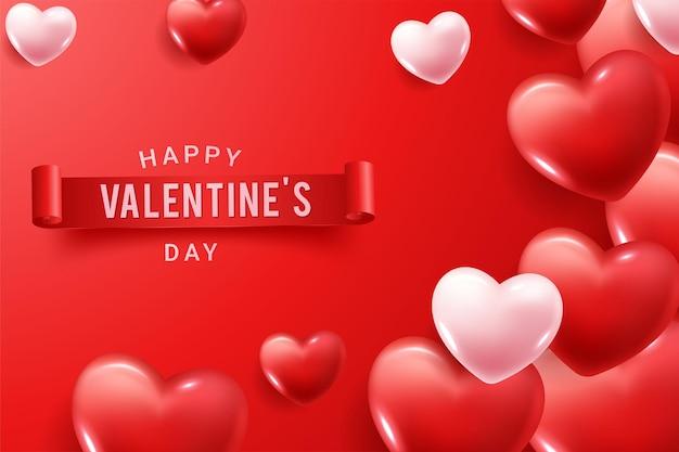 Feliz dia dos namorados parabéns com formas de coração 3d vermelho e rosa