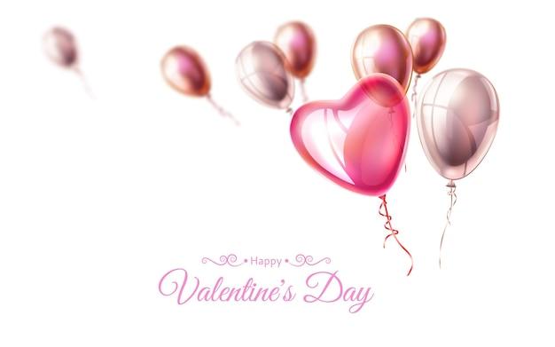 Feliz dia dos namorados pôster com formato de coração realista e balões voadores