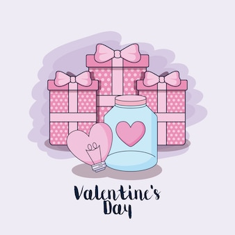Feliz dia dos namorados presentes caixas e ícones