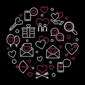 Feliz dia dos namorados rodada icon ilustração de contorno