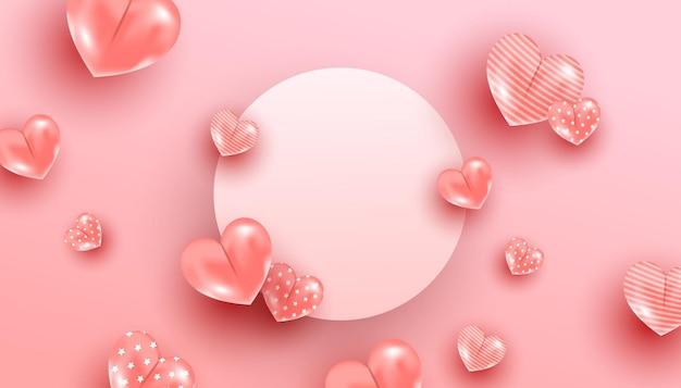 Feliz dia dos namorados romântico voando com corações rosa em fundo rosa e moldura de círculo