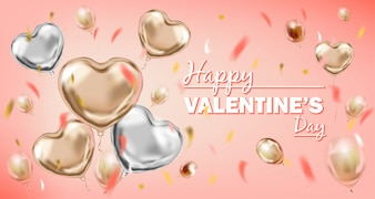 Feliz dia dos namorados rosa e balões de forma de coração de folha de prata