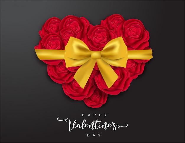 Feliz dia dos namorados rosas vermelhas coração cheio de design de cartão