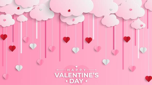 Feliz dia dos namorados saudação banner em estilo realista de recorte de papel. corações e nuvens de papel