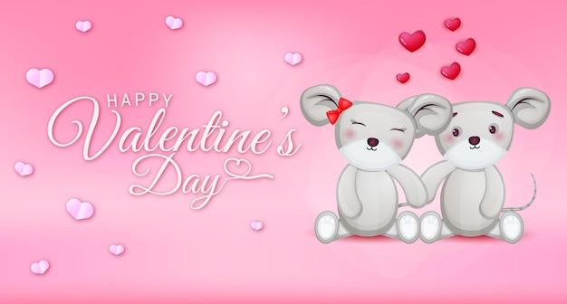 Feliz dia dos namorados saudação texto com corações e casal de ratos