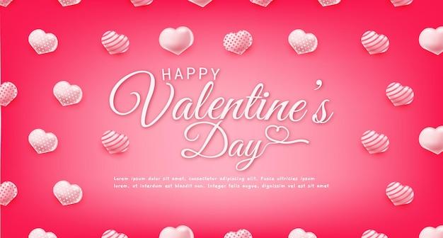 Feliz dia dos namorados saudando banner de texto com corações