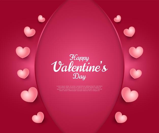 Feliz dia dos namorados saudando corações rosa em fundo de papel vermelho