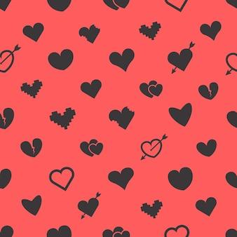 Feliz dia dos namorados sem costura padrão. fundo abstrato do vetor do dia dos namorados