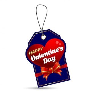 Feliz dia dos namorados tag com forma de coração sobre fundo azul.