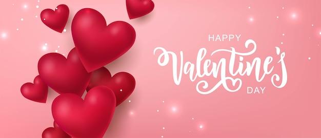 Feliz dia dos namorados texto, cartaz de tipografia letras de mão em fundo gradiente rosa com corações 3d.