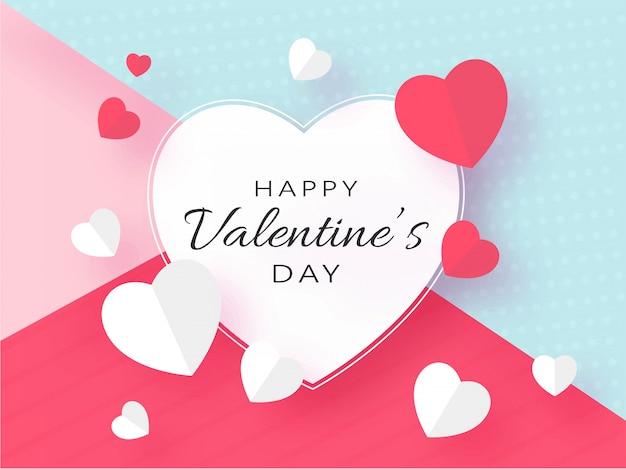 Feliz dia dos namorados texto com corações de papel vermelho e branco decorados em abstrato colorido.