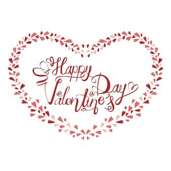 Feliz dia dos namorados tipografia com vetor de design de forma de coração