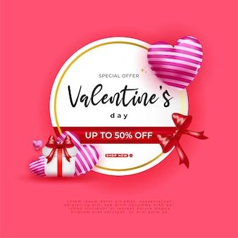 Feliz dia dos namorados venda com corações de balão 3d e caixa de presente em fundo rosa.