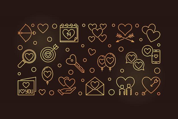 Feliz dia dos namorados vetor banner dourado