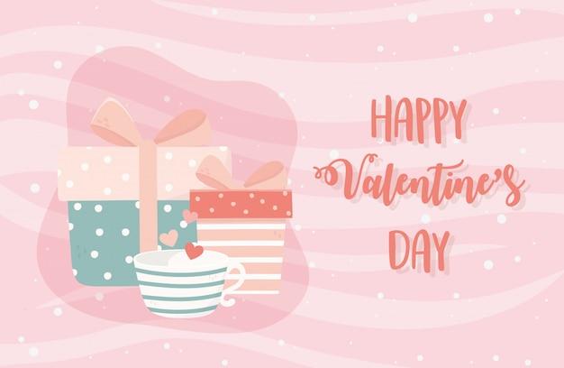 Feliz dia dos namorados xícara de café corações amor caixas de presente