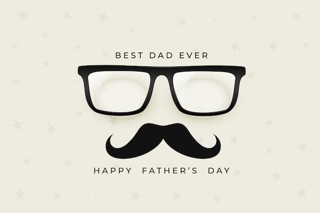 Feliz dia dos pais agradável com óculos e bigode