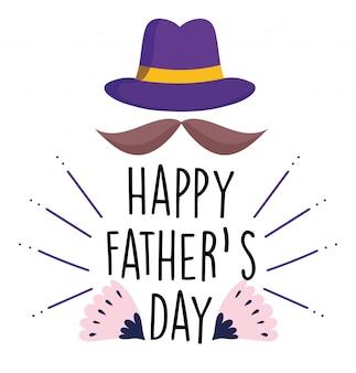 Feliz dia dos pais, bigode com decoração de cartão de flores de chapéu