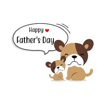 Feliz dia dos pais cartão com personagens de cachorro fofo.