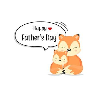 Feliz dia dos pais cartão com personagens fofinhos de raposa.