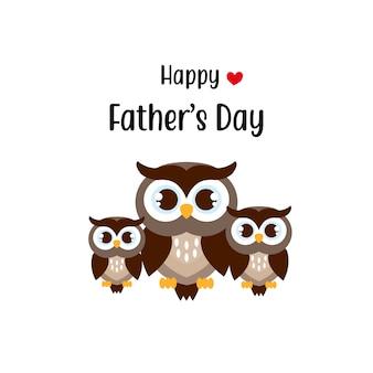 Feliz dia dos pais cartão com personagens fofos de coruja.