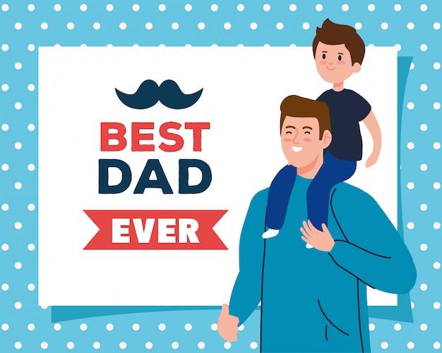 Feliz dia dos pais cartão e pai carregando filho