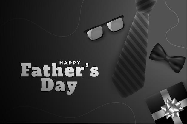 Feliz dia dos pais cartão preto com elementos realistas.