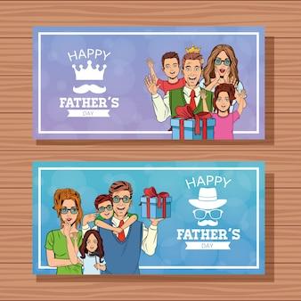 Feliz dia dos pais cartões de banners
