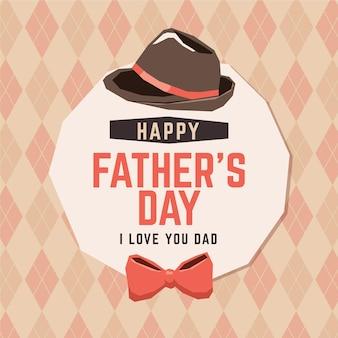 Feliz dia dos pais com gravata borboleta e chapéu
