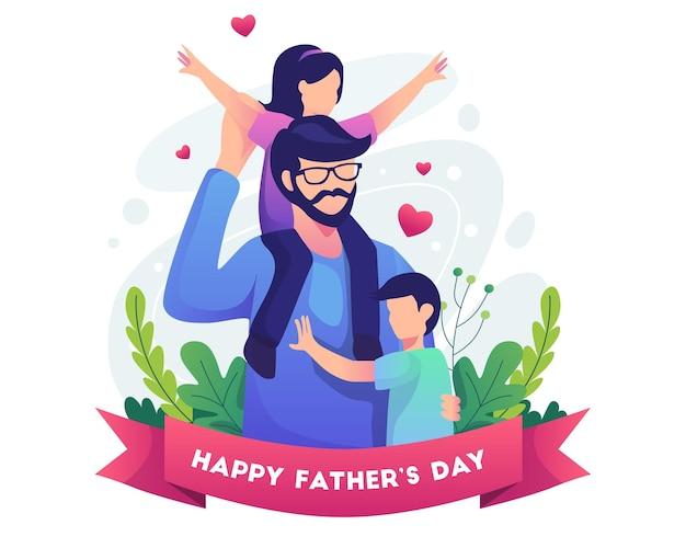 Feliz dia dos pais com o pai e a ilustração de seus dois filhos