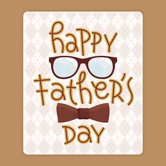 Feliz dia dos pais com óculos e gravata borboleta