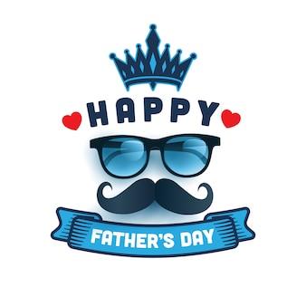 Feliz dia dos pais com óculos e mensagem.