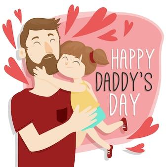 Feliz dia dos pais com pai e menina