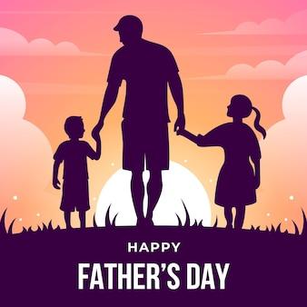 Feliz dia dos pais com silhuetas de pai e filhos