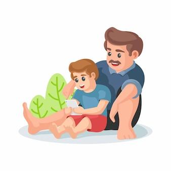 Feliz dia dos pais. conceito de passatempo familiar. pai e filho assistindo vídeo na mão telefones gadget. um menino na frente de sua ilustração vetorial de pai.
