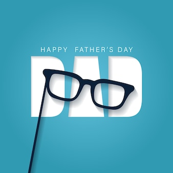 Feliz dia dos pais deseja um cartão em estilo recortado com um óculos