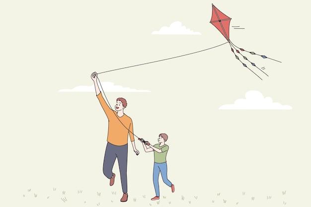 Feliz dia dos pais e conceito de lazer