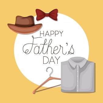Feliz dia dos pais e gravata borboleta chapéu e camisa design