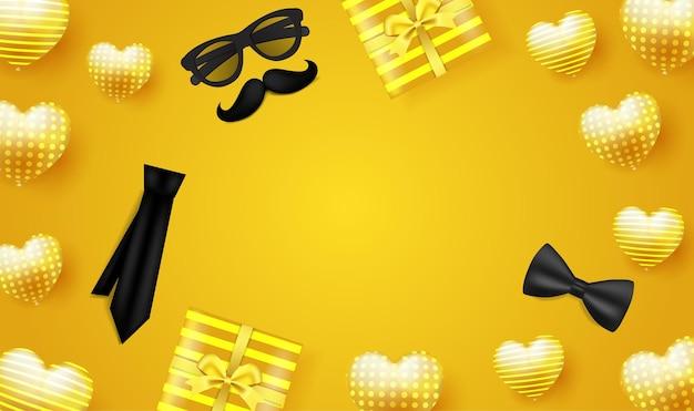 Feliz dia dos pais em amarelo com óculos, fita de amarrar bigode e caixa de presente