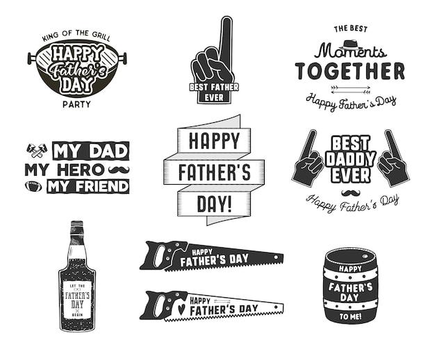 Feliz dia dos pais emblemas e coleção de elementos de design rótulos de dia do pai estilo vintage. estilo de tipografia monocromática. melhor para cartões de cumprimentos de festa, camiseta, caneca, banner, cartaz ilustração em vetor.