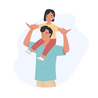 Feliz dia dos pais. filha alegre sentar no ombro do pai. ilustração em um estilo simples