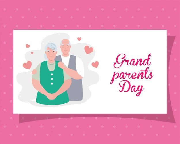 Feliz dia dos pais grandes com casal mais velho bonito e corações decoração ilustração design