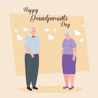 Feliz dia dos pais grandes com design ilustração casal mais velho