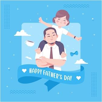 Feliz dia dos pais ilustração fofa